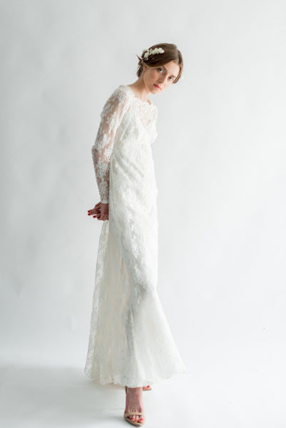 1960s Empire Silk Lace Gown - S