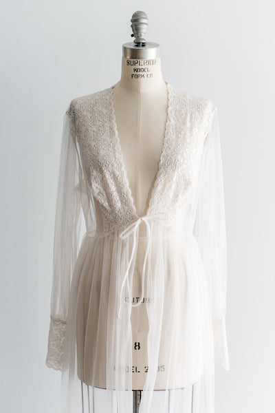 1960s Nylon Lace Dressing Gown - M