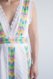 1970s Plunging V Neck White Embroidered Cotton Dress - S