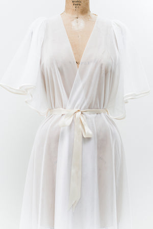 Vintage Tricot Sheer Dressing Robe - One Size