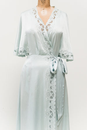 Vintage Light Blue Embroidered Silk Wrap Gown - M