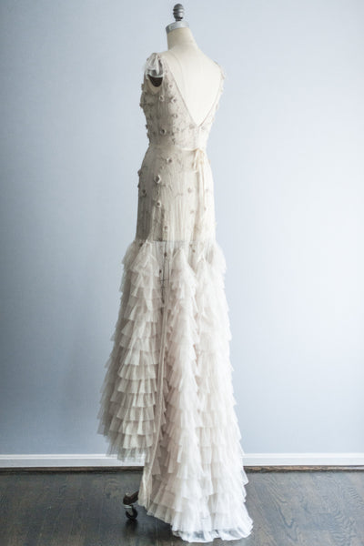 LAZARO Sheer Embelished Gown - S/M