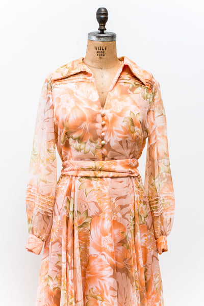 1970s Peach Chiffon Floral Printed Dress - L