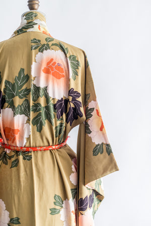 1940s Olive Floral Silk Kimono - One Size