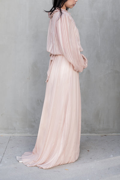 Vintage Dusty Pink Chiffon Poet Sleeve Gown - M