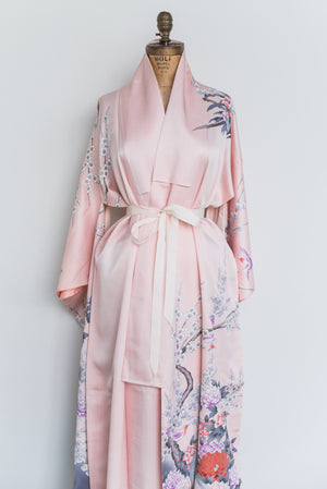 Vintage Pink and Purple Silk Peacock Floral Kimono Robe - One Size