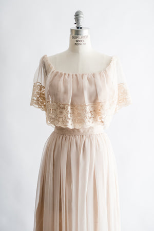 1970s Nude Off the Shoulder Chiffon and Lace Maxi Dress - S/M