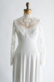 1960s Lace and Jersey Wedding Gown - S