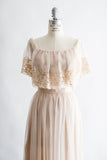 1970s Nude Off the Shoulder Chiffon and Lace Maxi Dress - S