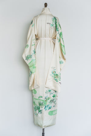 Vintage Silk Ivory Kimono with Mint Floral Embroidery - One Size