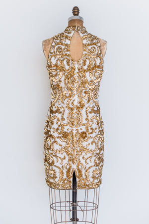 1980s Silk Halter Sequined Dress - S