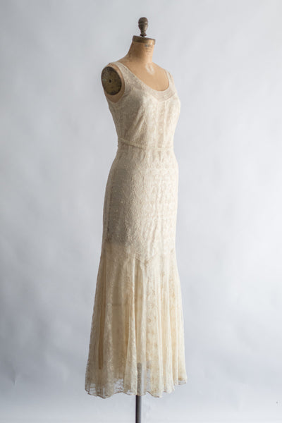 1930s Ivory Silk Needle Lace Gown with Jacket - XS/S