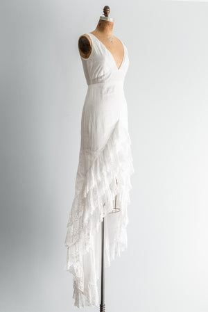 1970s Cotton Eyelet Hi-Low Gown - S