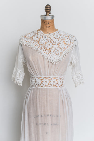 Antique Cotton Muslin Embroidered Dress - S/M