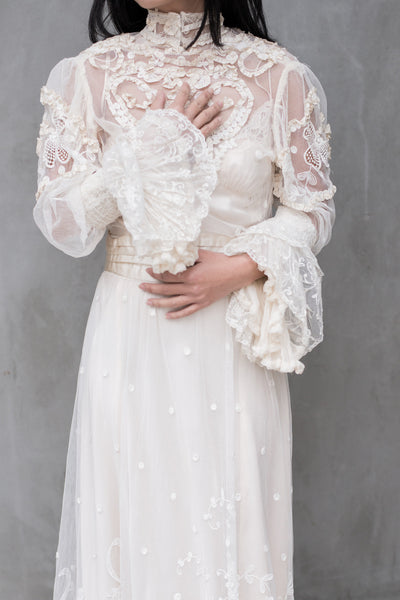 Antique Tambour Lace Gown - S