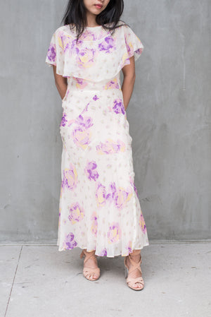 1930s Chiffon Floral Dress - S