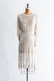 1980s Silk Chiffon Beaded Dress - S/M
