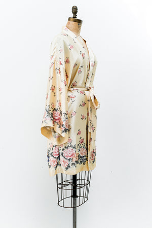 Vintage Yellow Silk Floral Robe - S/M