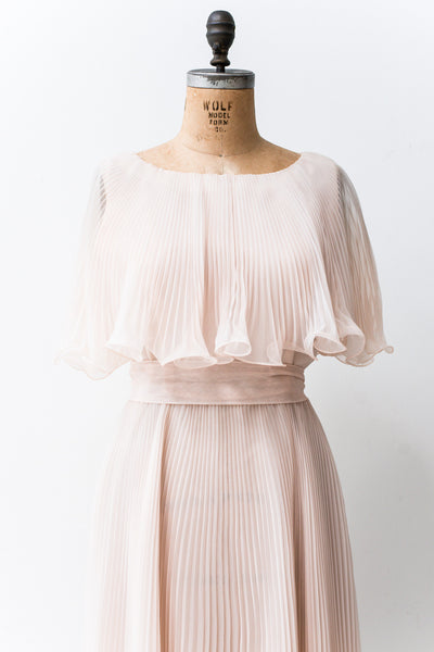 1960s Shell Pink Nylon Chiffon Dress - M
