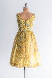 1950s Yellow Floral Print Dress - M/L