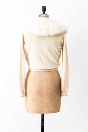 1950s Rare Fox Fur Cardigan - S/M