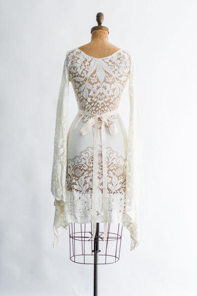 1970s Floral Crochet Angel Sleeves Mini-Dress - XS/S