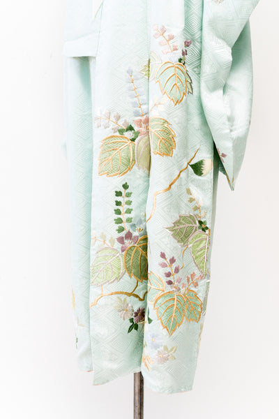 Vintage Cyan Silk Patterned Embroidered Kimono - One Size