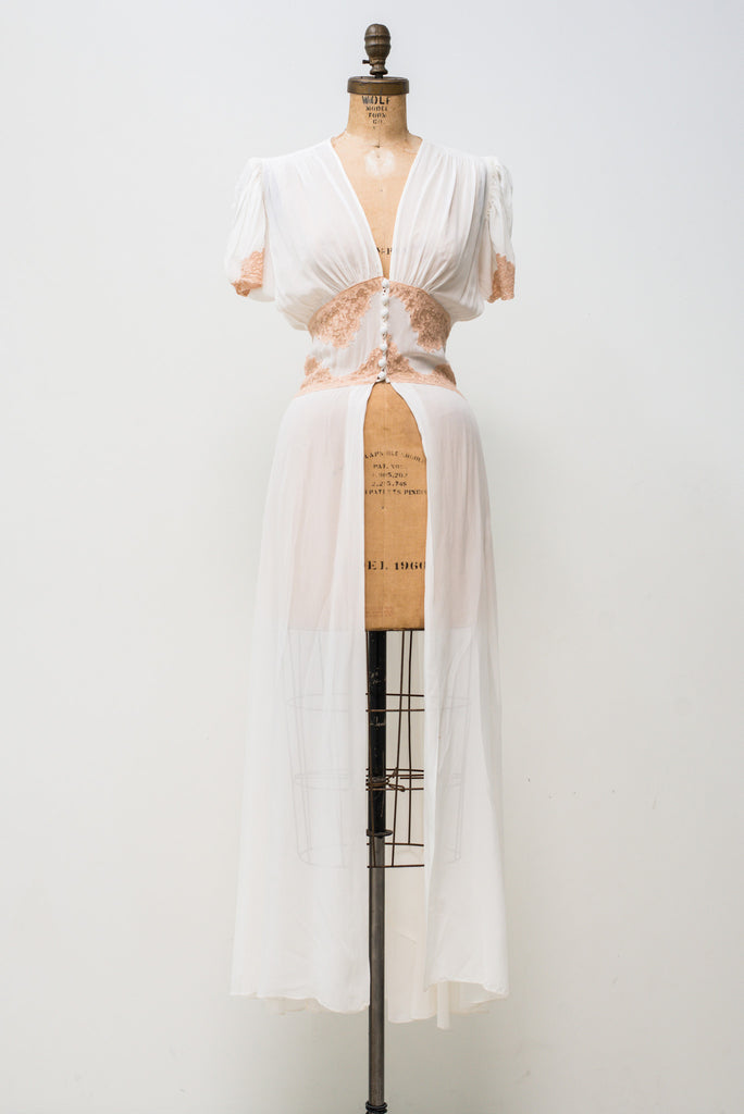 1940s Silk Chiffon Dressing Gown with Short Sleeves - XS/S ...
