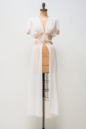 1940s Silk Chiffon Dressing Gown with Short Sleeves - XS/S