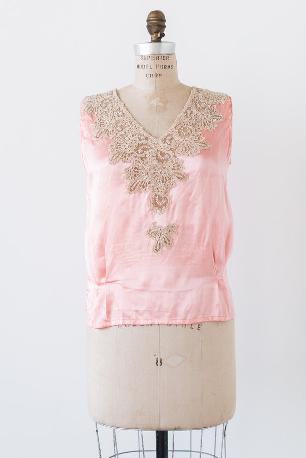 1920s Silk Satin and Lace Insert Top - S/M