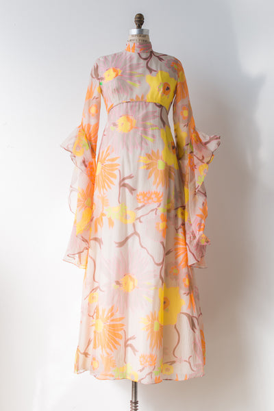 RESERVED 1970s Chiffon Floral Dress with Long Butterfly Sleeves - S