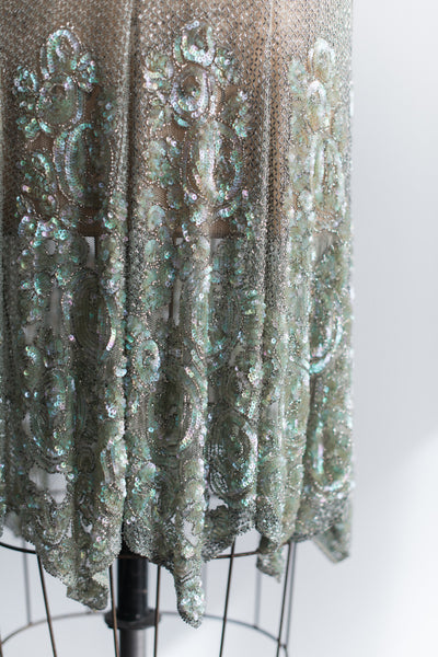 1920s Seafoam Beaded French Flapper Dress - XS/S