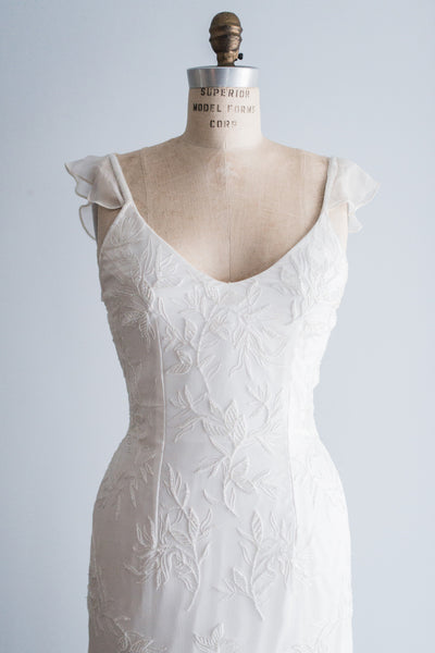 1980s Ivory Silk Beaded Gown - S