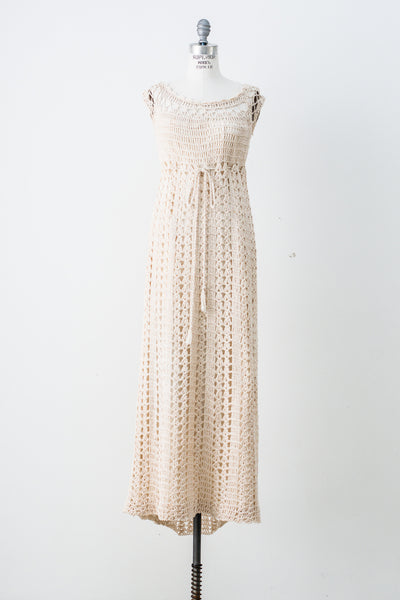 1970s Eggshell Macrame Dress - M