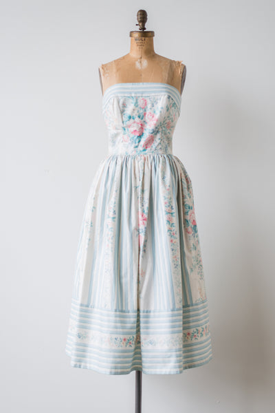 1980s Baby Blue Striped Floral Tea-Length Dress - S