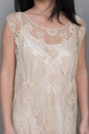 1920s Crochet Lace Flapper Dress - M