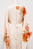Vintage Silk Orange Floral Embroidered Kimono - One Size