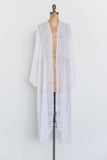 Open Long Sleeve Vintage Chiffon Dressing Robe - S/M