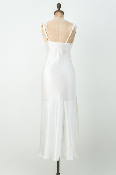 Vintage Silk Satin and Lace Satin Slip - S