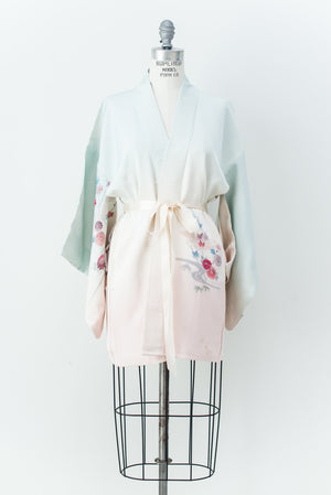 Vintage Ombre Silk Kimono with Embroidery- One Size