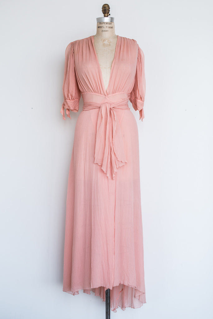 Pink Chiffon Wrap Dress