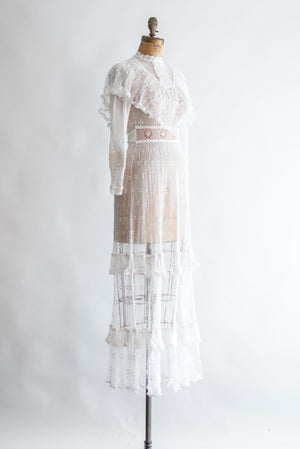 1970s Macrame Crochet Lace Dress - XS/S