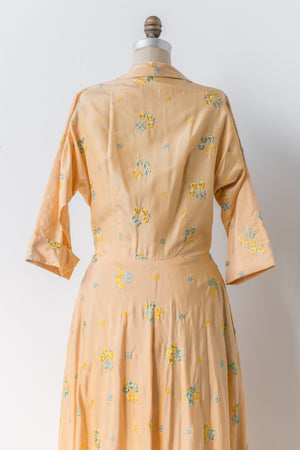 1950s Silk Embroidered Hostess Wrap Gown - M/L