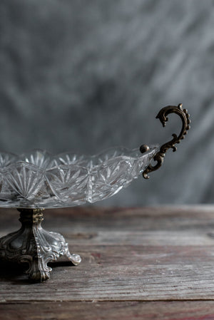 Antique Cut Glass Compote with Brass Handles