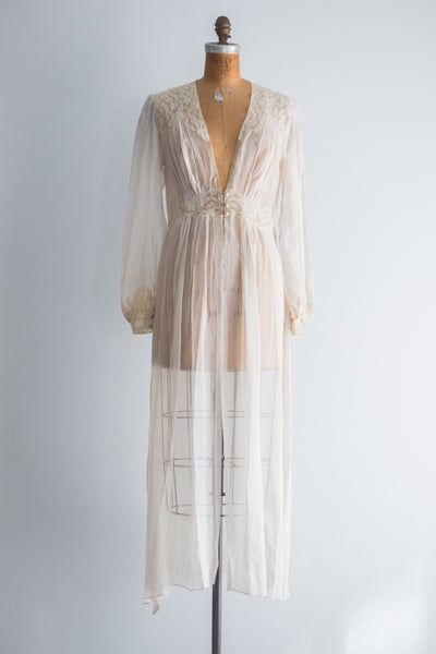 ... 1930s Chiffon and Lace Dressing Gown - S M 5c2395d6d