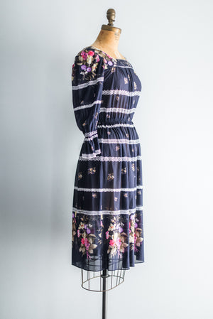 1980s Midnight Blue Floral Dress - S