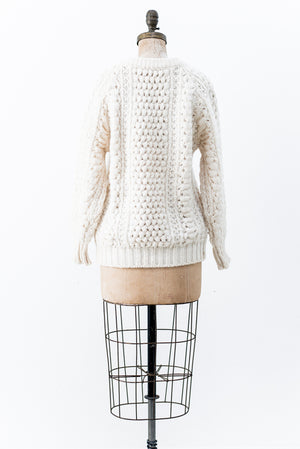 Vintage Wool Cable Knit Sweater - M/L