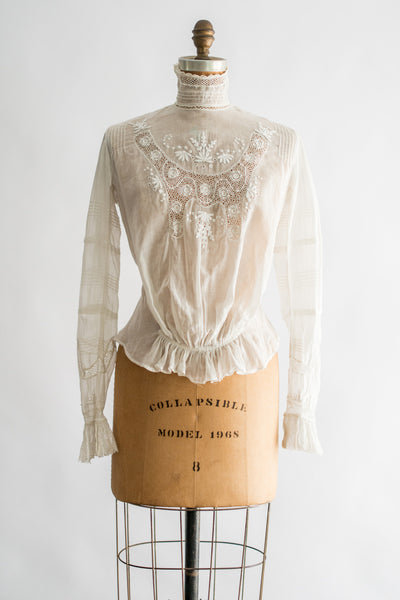 Antique Edwardian Batiste Embroidered Top - S