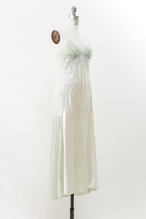 1980s Silk Lace Chiffon and Charmeuse Slip - S