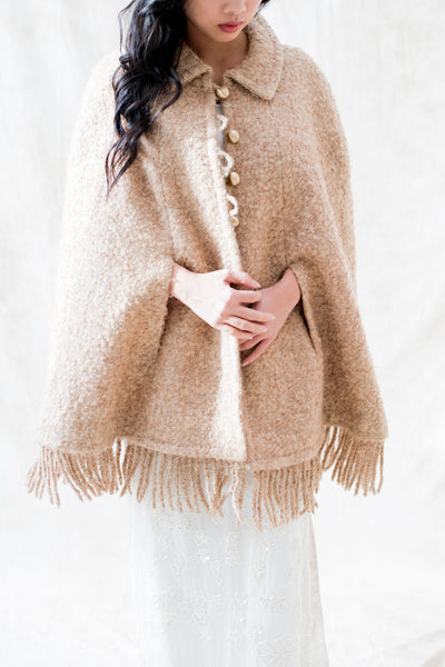 Vintage Taupe Wool Cape - One Size